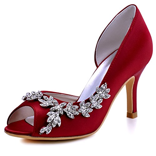 Rhinestones Shoes Heel Wedding Burgundy HP1542 High Bridal Women ElegantPark Satin Peep Toe nIRvHwx