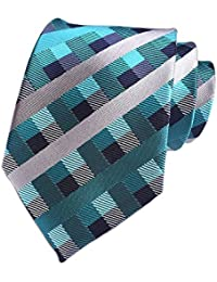 Men's Slim Check Stripe Silk Ties Jacquard Formal Plaid Necktie for Gift