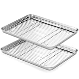 Baking sheets and Rack Set, ASEL 2 Sets Stainless Steel Baking Pans Tray Cookie Sheet with Cooling Rack, Non Toxic & Healthy, Superior Mirror Finish & Easy Clean