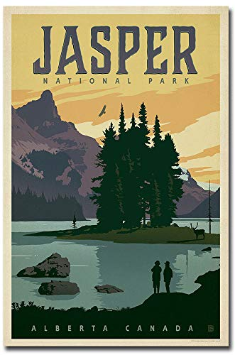 Jasper National Park Travel Art Refrigerator Magnet Size 2.5