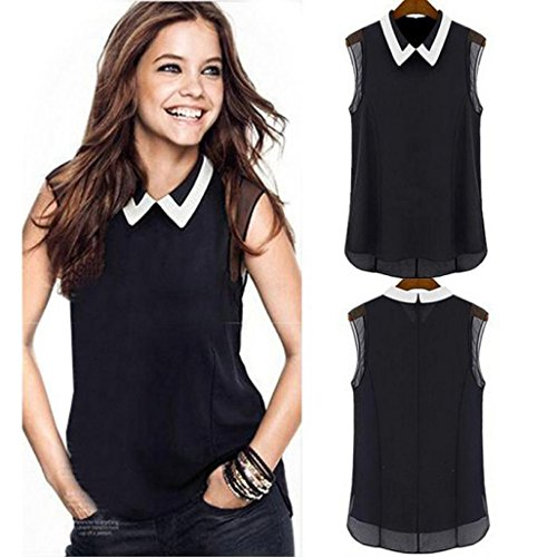 Sleeveless Vest Blouse ,Beautyvan New Fashion Summer Loose Chiffon Sleeveless Vest Blouse (Black, L) (Spoon Long Sleeve T-shirt)