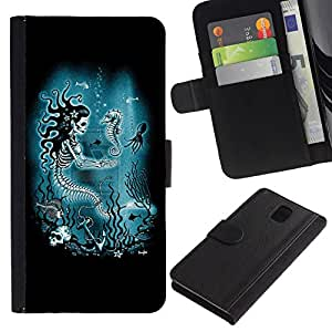 All Phone Most Case / Oferta Especial Cáscara Funda de cuero Monedero Cubierta de proteccion Caso / Wallet Case for Samsung Galaxy Note 3 III // Mermaid Skull Skeleton Seahorse