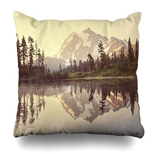 Ahawoso Throw Pillow Covers Mountain State Mount Shuksan Lake Washington Nature Scenery Parks Summer Sunrise Alpine America Home Decor Zippered Pillowcase Square Size 18 x 18 Inches Cushion Case