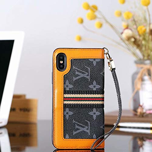 Phone case for iPhoneXs Max Wallet Case, 2 in 1 Wallet Luxury Elegant Leather Detachable Case Hand Strap Closure Flip Brown Case with Box Package Case for iPhoneXs Max - 2 Note Vuitton Louis Case