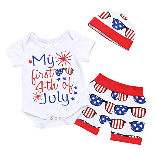 - 3Pcs/Set Infant Baby Boys Girls Snuggle Rompers+Striped Pants+Hat Take Home Outfits (White-b, 0-3 Months)