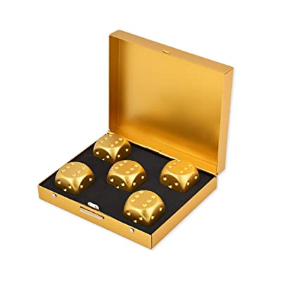 DS.DISTINCTIVE STYLE Aluminum Alloy Dice 5 Pieces 16mm Portable Metal Dices with Case 6 Sided Dice for Drinking Party Game - Golden: Toys & Games