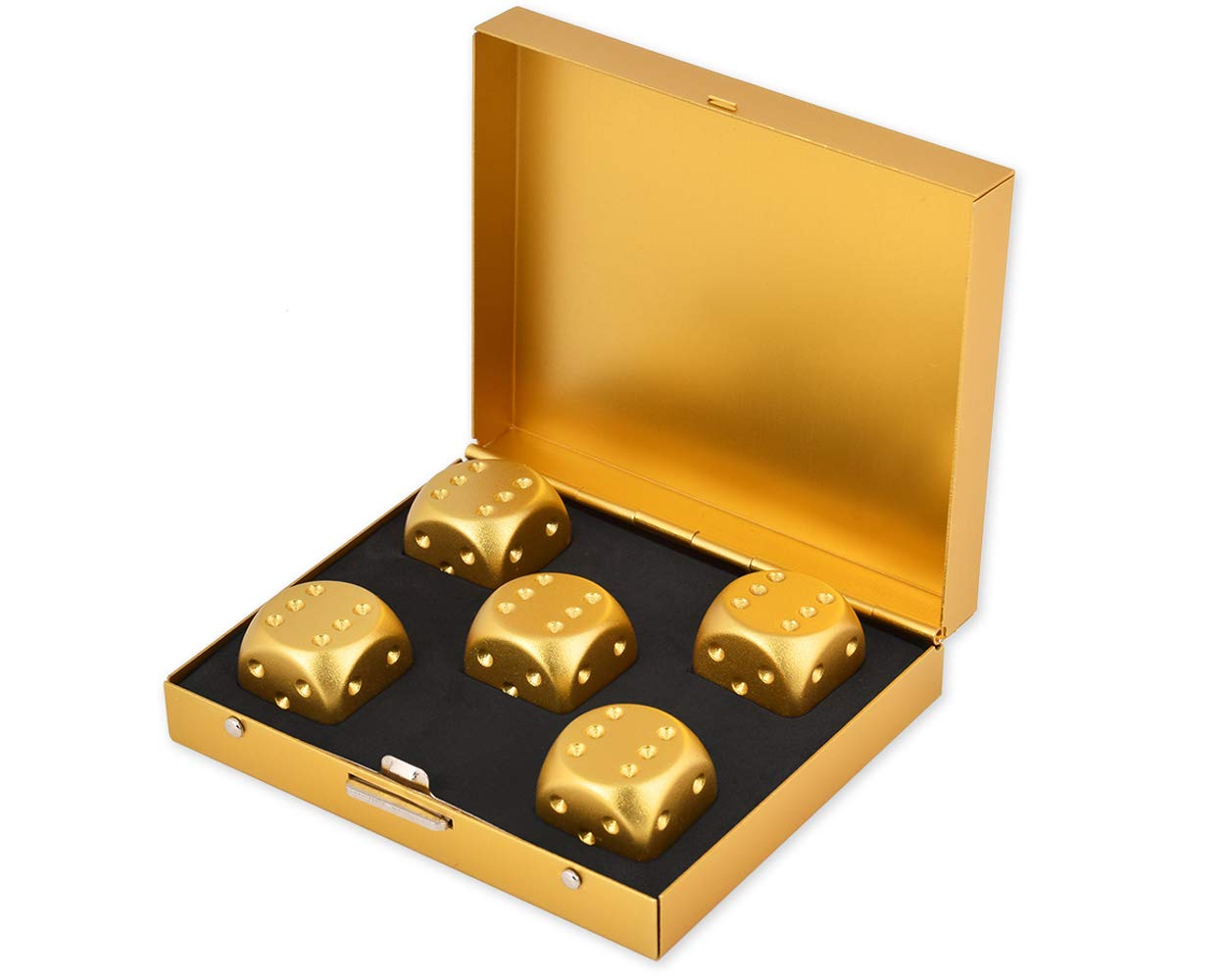 DS.DISTINCTIVE STYLE Aluminum Alloy Dice 5 Pieces 16mm Portable Dices with Metal Box 6 Sided Dice Poker Party Game Toy Portable Dice Man - Golden by DS. DISTINCTIVE STYLE
