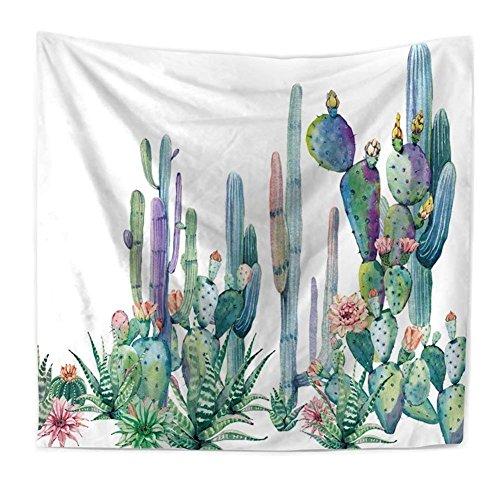 QEES Cactus Decor Tapestry Wall Hanging Decor Art Home Decor, Yellow and Green Watercolor Printed Bedroom Living Room Dorm Wall Hanging Tapestry Beach Throw/Table Runner/Cloth(GT11-C-6)(W:79
