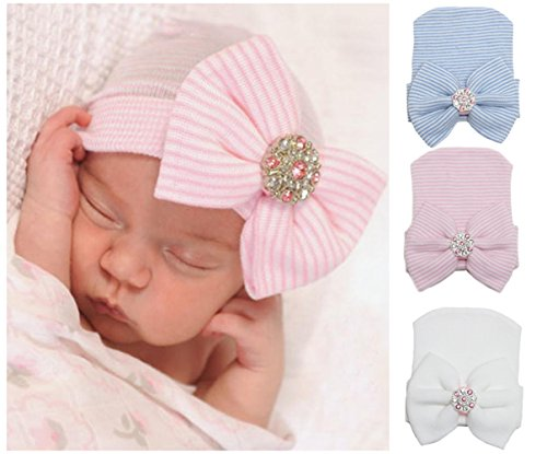 3 Pcs Newborn Hospital Hat Infant Baby Hat Cap with Big Bow Soft Cute Knot Nursery Beanie (Blue, Pink, White)