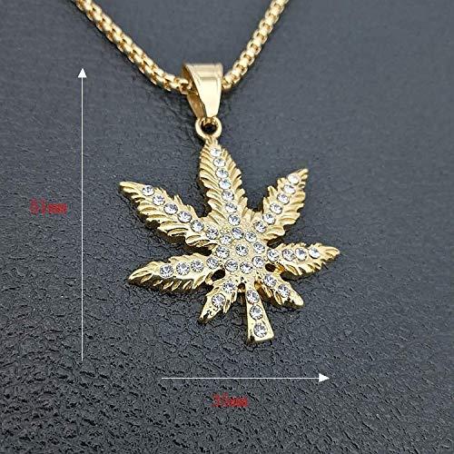Davitu 316 Stainless Steel Hemp Leaf Pendant Necklace Full Zircon Biker Hip Hop Punk Rock Male Party Gift Vogue G0433
