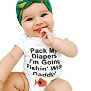 GBSELL Baby Boys Girls Newborn Infant Letter Print Romper Clothes Outfits (fish letter, 0-3M)