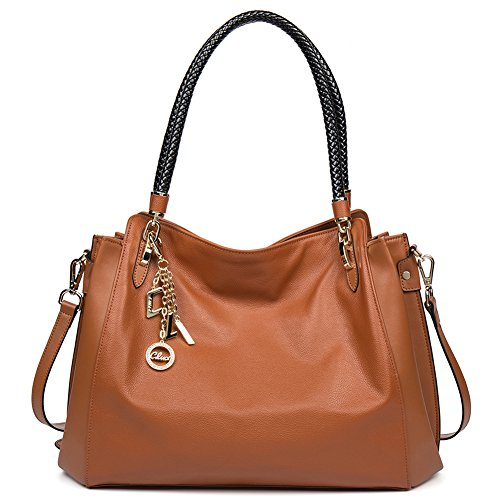 CLUCI Cow Leather Designer Handbags Purse Tote Shoulder Bags Clutch for Women on Sale Brown (Discount Designer Bags)