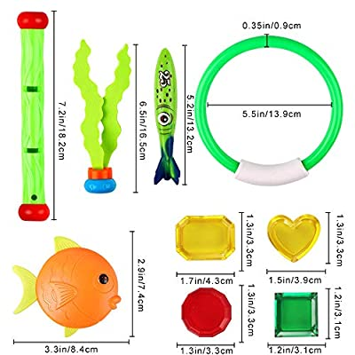 28 Pcs Dive Toys Pool Toys Underwater Swimming Toys Set with Bonus Storage Bag Includes Diving Torpedos, Diving Rings, Diving Gems, Diving Sticks, Diving Fish, Octopuses Sinking Pool Toys for Kids: Toys & Games
