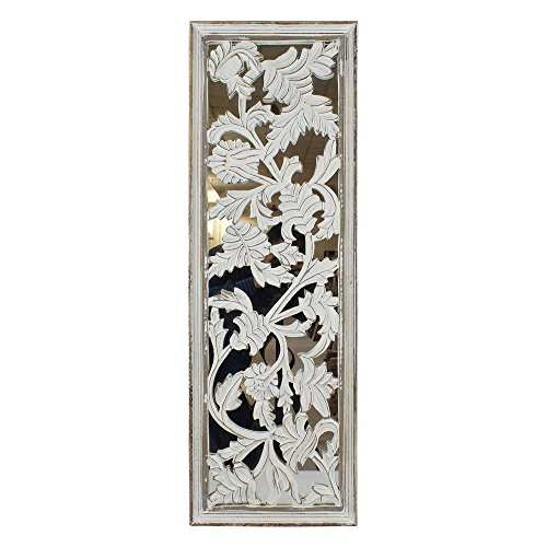 Indian Heritage Wooden Wall Panel MDF Mirror with Panel in White Distress Finish (Wall Panel Carved Decor Wood)
