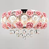 Cheap LightInTheBox Ceiling light's Idyllic Modern Crystal 5 Light Pendant Decorated with Pink Flower Chandelier for Dining Room, Bedroom, Living Room
