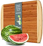 Extra Large Organic Bamboo Cutting Board for Kitchen - NEW CRACK-FREE DESIGN - Best Wood Chopping Boards w/Juice Groove for Carving Meat, Wooden Butcher Block for Vegetables & Serving Tray for Cheese