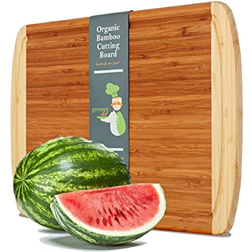 Extra Large Organic Bamboo Cutting Board For Kitchen   NEW CRACK FREE  DESIGN   Best Wood Chopping Boards W/Juice Groove For Carving Meat, Wooden  Butcher ...