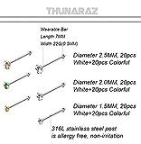 Thunaraz 120pcs Stainless Steel Nose Studs Rings