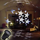 LED Star Flood Lights GESIMEI Indoor/Outdoor Waterproof Lawn Moving Projector Lamp Christmas Holiday Party Home Wall Tree Stage Landscape Lighting (White)