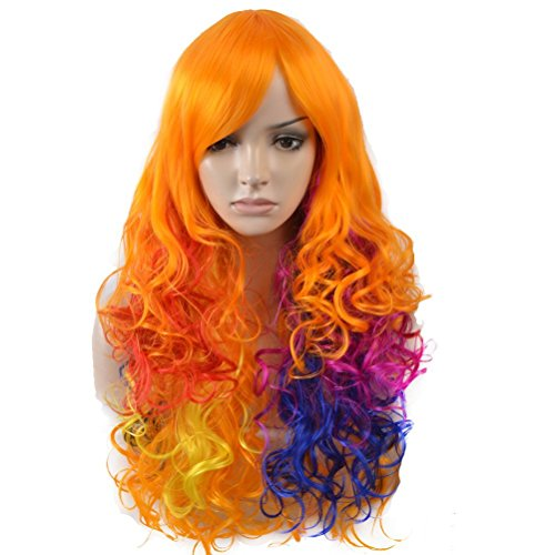 BERON Long Curly Colorful Wigs for Women Girls Pastel Rainbow Fun Wigs Come with Wig Cap (Orange/Purple/Blue/Red) ()