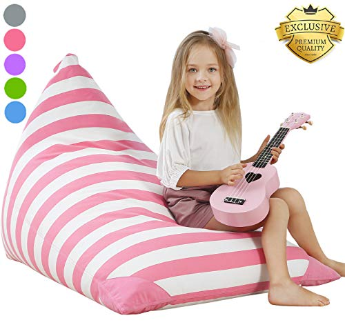 AUBLISS Stuffed Animal Storage Bean Bag Chair - Plush Animal Toy Organizer for Kids, Girls and Children | Extra Large | 23 Inch Long YKK Zipper | Premium Cotton Canvas