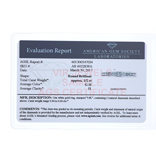 AGS Certified I1-I2 1/2 ctw Classic Diamond Wedding Band 14K White Gold Size 4.5 by Vir Jewels (Image #2)