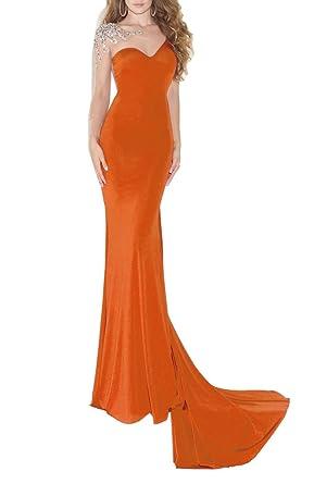 Emmani Sexy Long Mermaid Sleeveless Trail One-Shoulder New Orange Rose-Red Chiffon Homecoming