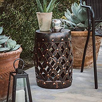 Marvelous Outdoor Collection Black Bronze Finish Metal Lattice Garden Stool Patio Side Table Garden Accent Andrewgaddart Wooden Chair Designs For Living Room Andrewgaddartcom