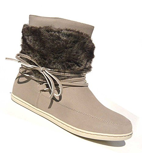 Schuh-City Damen Schuhe Stiefelette Kunst Fell Sneaker beige 36
