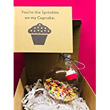 Friend Wife Bestie Cupcake Gift | You're the Sprinkles on my. Cupcake Charm and Glass Ornament Sweet Tooth Gift for Best Friend Girlfriend Sweetheart