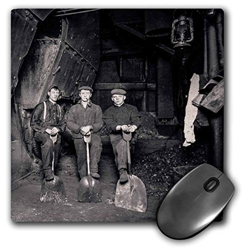 3dRose Scenes from The Past Stereoview - Coal Gang in The Boiler Room Great Lakes Freighter Stereoview Rare - Mousepad -