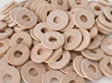 Wooden Washers - Pack of 100 - 1' diameter, 3/8' hole, 1/8' thick, beveled edge - natural unfinished wood circles discs