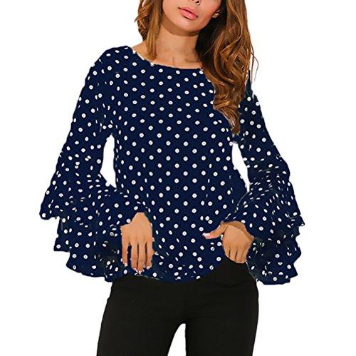 Con Camicia Vintage Top Rotondo Blusa Maniche Elegante Stampata Manica Maglietta Ragazza Moda Pois Blu Autunno Volant Lunga Collo Camicie Donna Tromba rv8pfr