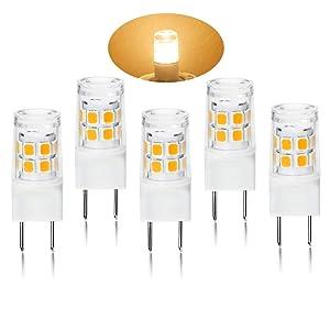 G8 LED Light Bulb 2.5 Watts Warm White - G8 Base Bi-pin Xenon JCD Type LED 120V 20W Halogen Replacement Bulb for Under Counter Kitchen Lighting, Under-Cabinet Light.Pack of 5 (Warm White)