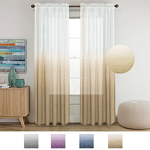 - Turquoize Ombre Linen Sheer Curtains Light Filtering Privacy Protecting Rod Pocket Panels Premium Soft Rich Material Drapes Bonus Tie-Backs, 2 Pack, 52 Wide x 96 inch Long Latte