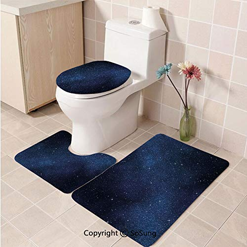 3pcs/Set Night Style Soft Comfort Flannel Toilet Mat,Space with Billion Stars Inspiring View Nebula Galaxy Cosmos Infinite Universe,Plush Bathroom Decor Mat with Non Slip Backing,Dark Blue White]()
