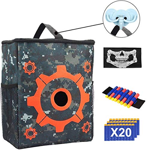POKONBOY Tactical Target for Shooting Pouch Storage Bag Compatible with Nerf Gun Games with 1 Dart Wrist Band, 1 Blaster Face Mask and 1 Hook 20PCS Bullets N-Strike Elite Mega Rival Series]()