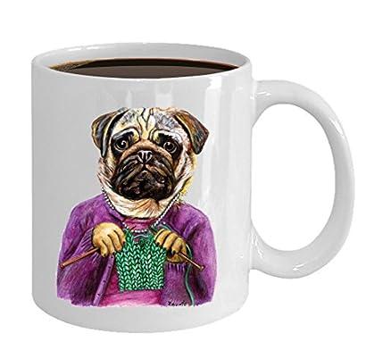 Funny Pug Knitting Mug - Cozy Ceramic Knitting Cup (11oz)