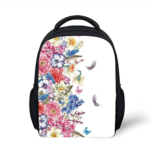 - iPrint Kids School Backpack Flower,Vintage Vivid Wreath with Daffodils Hyacinths Chamomile Lilies Butterfly Picture,Pink Blue Plain Bookbag Travel Daypack