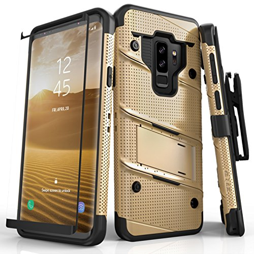 Zizo Bolt Series Compatible with Samsung Galaxy S9 Plus Case Military Grade Drop Tested with Tempered Glass Screen Protector Holster Gold Black