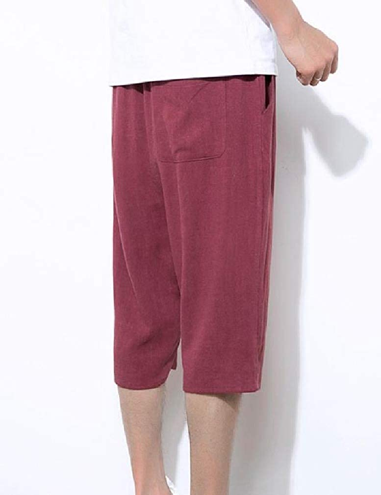 RDHOPE-Men Premium 3//4 Length Pants Relaxed Solid Palazzo Lounge Pant