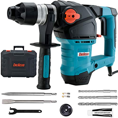 ENEACRO 1-1/4 Inch SDS-Plus 12 Amp Heavy Duty Rotary Hammer Drill, Safety Clutch 3 Functions with Vibration Control Including Grease, Chisels and Drill Bits with Case