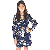 Smukke, Big Girls Floral Printed Tier Ruffle Sleeves Romper (Many Options) with Pockets, 7-16