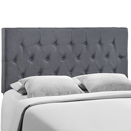 Modway Clique Upholstered Tufted Button Fabric Headboard Queen Size In Smoke Upholstered Bed Series