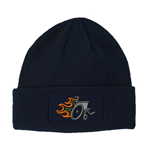 Speedy Pros Wheelchair Handicap Flames Embroidery Double Layer Acrylic Patch Beanie, Navy