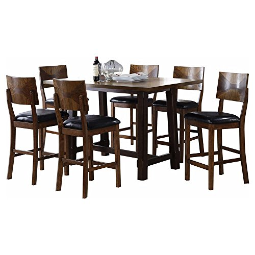 Geronimo Mid Century Modern 7 Piece Counter Height Dining Table & 6 Stool Chairs in 5 Tone Oak