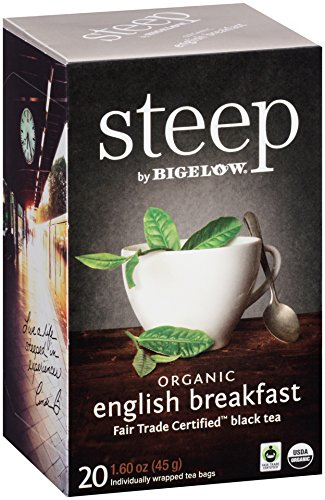 Steep by Bigelow Organic English Breakfast Tea 20Count Organic Caffeinated Individual Black Tea Bags, for Hot Tea or Iced Tea, Drink Plain or Sweetened with Honey or Sugar