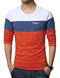 "<span class=""a-offscreen"">[Sponsored]</span>Mens Casual Cotton Fitted Short-Sleeve/Long Sleeve Contrast Color T-Shirt"