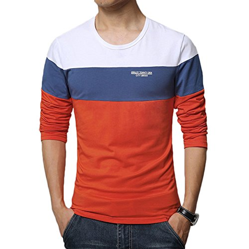 8sanlione Mens Casual Cotton Fitted Short-Sleeve/Long Sleeve Contrast Color ()