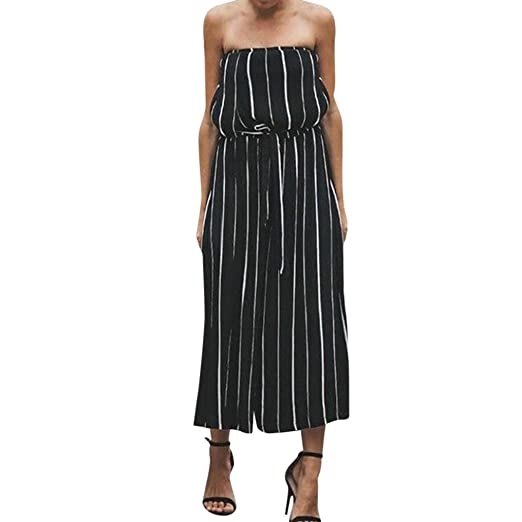 53b3dd162a0 Image Unavailable. Image not available for. Color  LisYOU Women s Striped  Sleeveless Wide Leg Loose Jumpsuit Casual Romper V-Neck ...